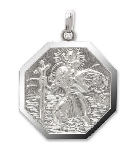 Silver Hexagonal St. Christopher Including Chain